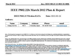 March 2012 doc IEEE 802 22 12 0022