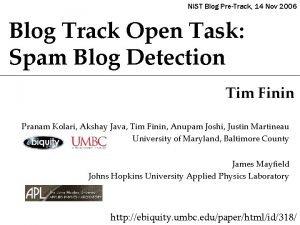 NIST Blog PreTrack 14 Nov 2006 Blog Track