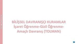 BLSEL DAVRANII KURAMLAR aret renmeGizil renme Amal Davran