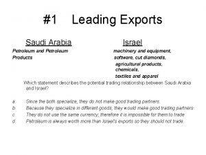 1 Leading Exports Saudi Arabia Israel Petroleum and