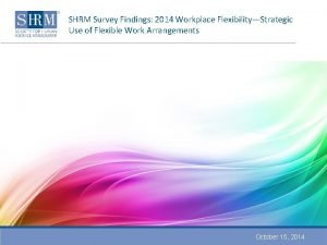 SHRM Survey Findings 2014 Workplace FlexibilityStrategic Use of