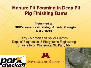Manure Pit Foaming in Deep Pit Pig Finishing