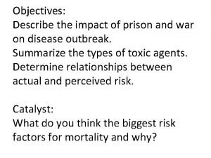 Objectives Describe the impact of prison and war