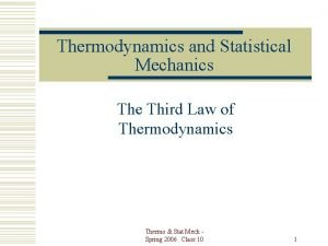 Thermodynamics and Statistical Mechanics The Third Law of