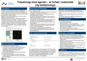 Toksikologi med agenter et forlb i matematik og