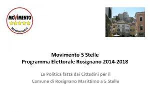 Movimento 5 Stelle Programma Elettorale Rosignano 2014 2018
