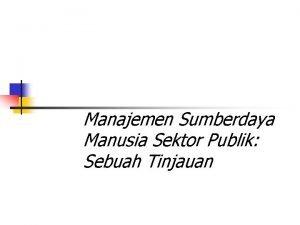 Manajemen Sumberdaya Manusia Sektor Publik Sebuah Tinjauan Sumberdaya