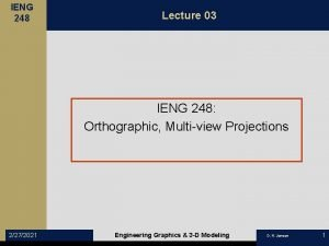 IENG 248 Lecture 03 IENG 248 Orthographic Multiview