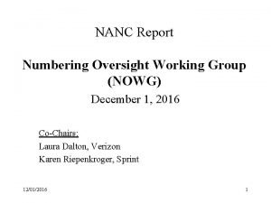 NANC Report Numbering Oversight Working Group NOWG December