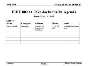 May 2008 doc IEEE 802 11 080567 r