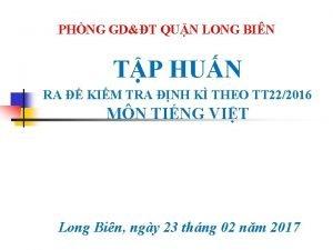 PHNG GDT QUN LONG BIN TP HUN RA