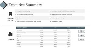 Executive Summary Company Overview Company XX introduction line