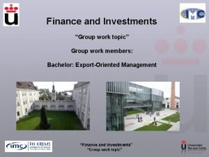 Finance and Investments Group work topic Group work