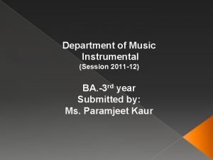 Department of Music Instrumental Session 2011 12 BA