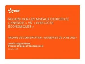 REGARD SUR LES NIVEAUX DEXIGENCE ENERGIE VS SURCOTS