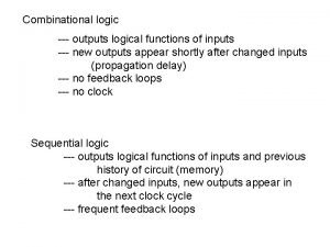Combinational logic outputs logical functions of inputs new