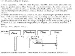 More information on Sequence Diagrams Sequence diagrams can