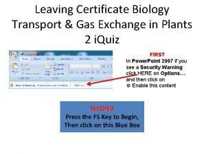 Leaving Certificate Biology Transport Gas Exchange in Plants
