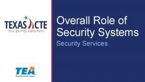 Overall Role of Security Systems Security Services Copyright