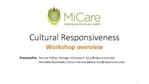 Cultural Responsiveness Workshop overview Presented by Yvonne Philips