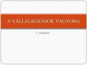 A VLLALKOZSOK VAGYONA 2 tmakr Leltr clja A