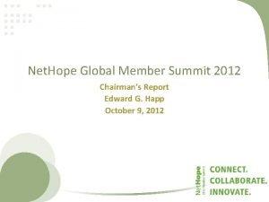 Net Hope Global Member Summit 2012 Chairmans Report