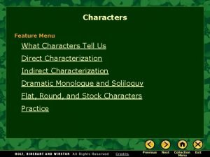 Characters Feature Menu What Characters Tell Us Direct