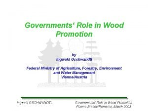 Governments Role in Wood Promotion by Ingwald Gschwandtl