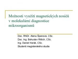 Monosti vyuit magnetickch nosi v molekulrn diagnostice mikroorganism