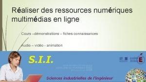 Raliser des ressources numriques multimdias en ligne Cours