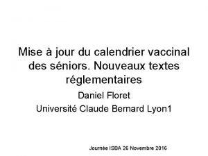 Mise jour du calendrier vaccinal des sniors Nouveaux