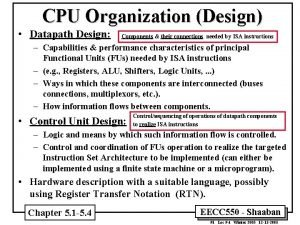 CPU Organization Design Datapath Design Components their connections