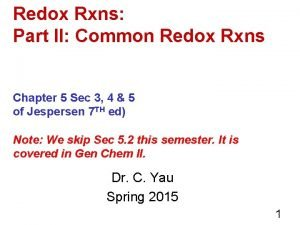 Redox Rxns Part II Common Redox Rxns Chapter