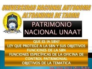 UNIVERSIDAD NACIONAL AUTONOMA ALTOANDINA DE TARMA PATRIMONIO NACIONAL