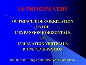 LE PRINCIPE CEHV OU PRINCIPE DE CORRELATION ENTRE