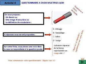 Activit 4 QUESTIONNAIRE A CHOIX MULTIPLES QCM Qu