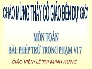 GIO VIN L TH MINH HNG Th t
