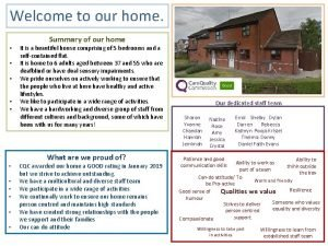 Welcome to our home Summary of our home