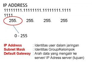 IP ADDRESS 11111111 1111 255 0 255 IP