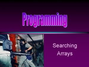 Searching Arrays COMP 104 Array Sorting Searching Slide