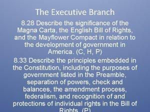 The Executive Branch 8 28 Describe the significance