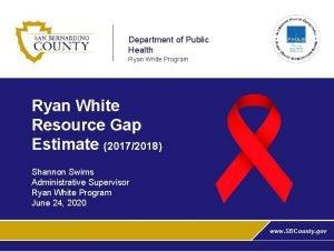 Department of Public Health Ryan White Program Ryan