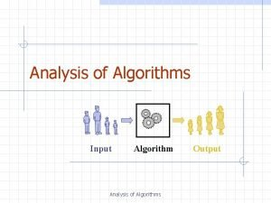 Analysis of Algorithms Input Algorithm Analysis of Algorithms