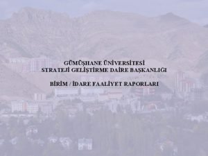 GMHANE NVERSTES STRATEJ GELTRME DARE BAKANLII BRM DARE