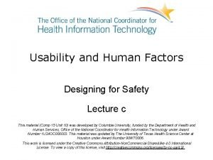 Usability and Human Factors Designing for Safety Lecture