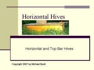 Horizontal Hives Horizontal and Top Bar Hives Copyright