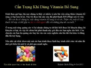 Cn Trng Khi Dng Vitamin B Sung Knh