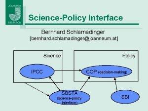 SciencePolicy Interface Bernhard Schlamadinger bernhard schlamadingerjoanneum at Science