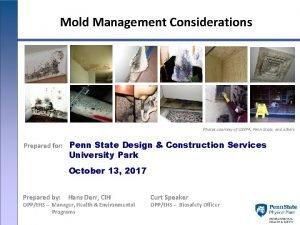 Mold Management Considerations Photos courtesy of USEPA Penn