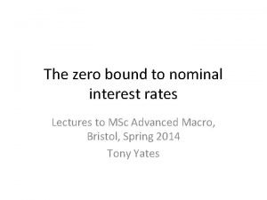 The zero bound to nominal interest rates Lectures